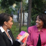 Arthel Neville of Fox News interviews Sarita (on right) about her book