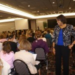 Chatting with members of 500-person audience at Trinity Health presentation, Minot ND