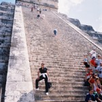 Climbing Chichen Itza Pyramid while in the Yucatan for speaking event