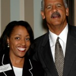 Posing with Oprah's beau Stedman Graham at his book signing