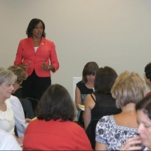 Sarita conducting Total Teamwork training for staff/teacher in-service