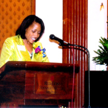 Sarita Maybin delivering a speech